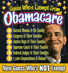Obamacare exemptions - found at zesko.com