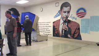 Obama mural at polling place