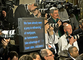 Teleprompter in center