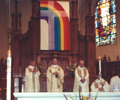 Rainbow flag at mass