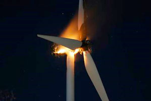 Windmill generator burns up