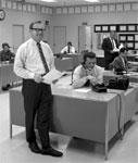 Eddie Barker in the KRLD-TV newsroom